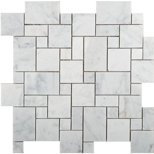 Emser Tile Natural Stone Random Sized Versailles Honed Marble Mosaic in Bianco Gioia