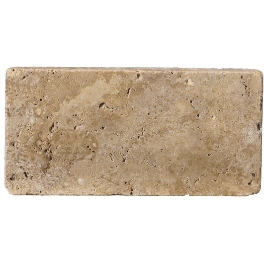 "Emser Tile Natural Stone 8"" x 16"" Tumbled Travertine Field Tile in Mocha"