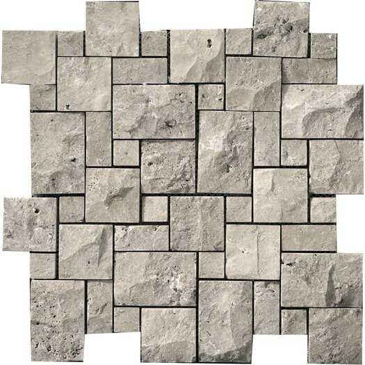 Emser Tile Natural Stone Random Sized Travertine Splitface Mosaic in Silver