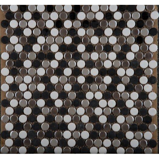 Emser Tile Confetti Penny Round Porcelain Glazed Mosaic in Gelido