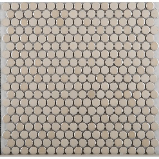 Emser Tile Confetti Penny Round Porcelain Glazed Mosaic in Cream