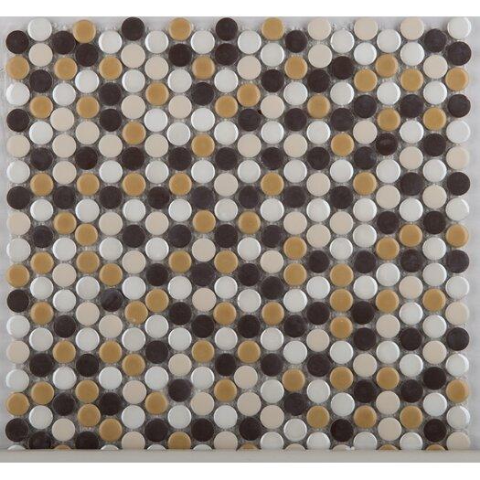 Emser Tile Confetti Penny Round Porcelain Glazed Mosaic in Caldo