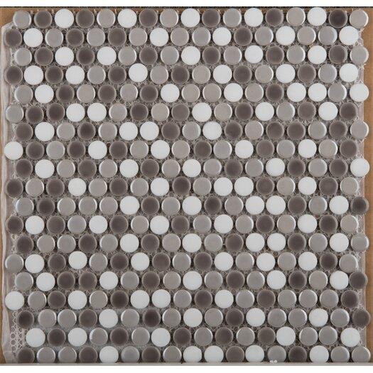 Emser Tile Confetti Glazed Porcelain Penny Round Mosaic in Freddo