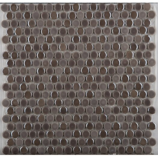 Emser Tile Confetti Glazed Porcelain Penny Round Mosaic in Pewter