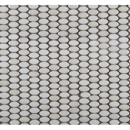 Emser Tile Confetti Oval Round Porcelain Glazed Mosaic in White