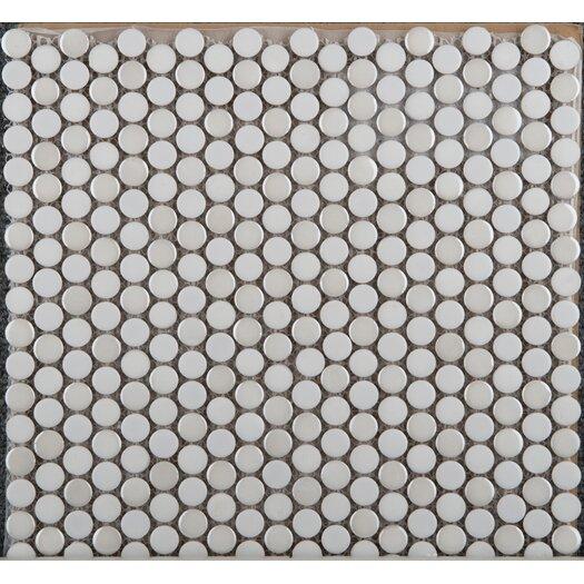 Emser Tile Confetti Penny Round Porcelain Glazed Mosaic in White