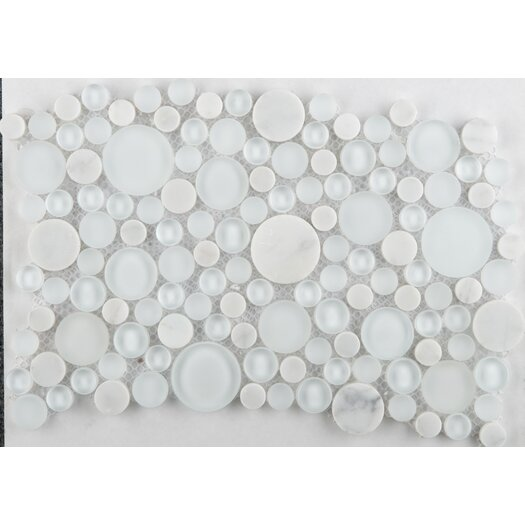 Emser Tile Lucente Random Sized Glass Frosted Mosaic Circle Blends in Ambrato