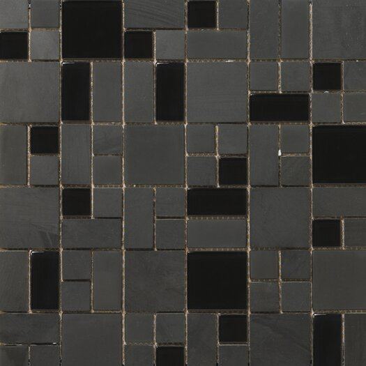 Emser Tile Lucente Random Sized Stone and Glass Mosaic Pattern Blend in Zanfirico