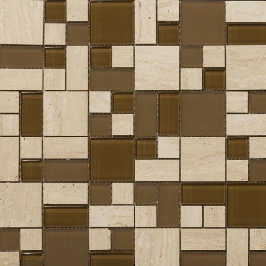 Emser Tile Lucente Random Sized Stone and Glass Unpolished Mosaic in Tromba