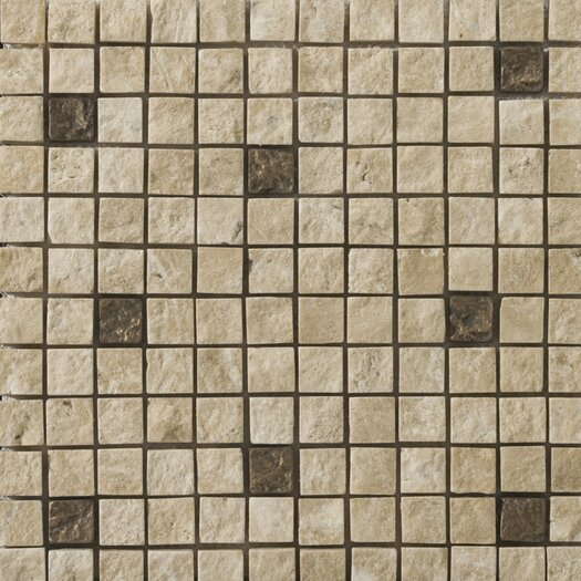 Emser Tile Natural Stone Ancient Metal Blend Travertine Tumbled Unpolished Mosaic in Compound Beige