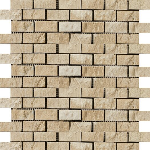 Emser Tile Natural Stone Split Face Brick Joint Travertine Unpolished Mosaic in Beige