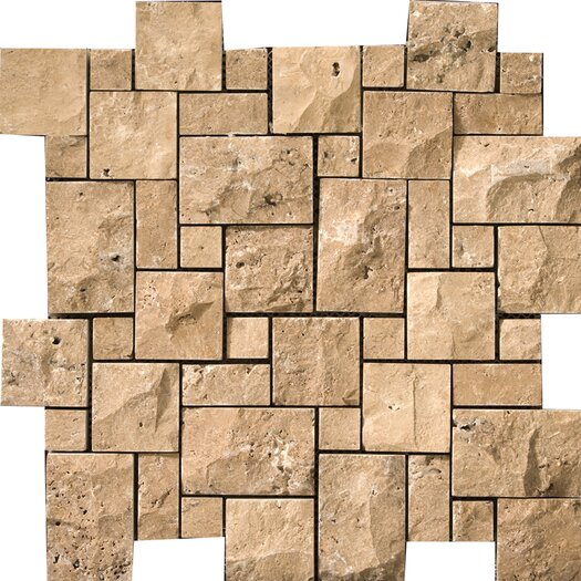 Emser Tile Natural Stone Split Face Versailles Random Sized Travertine Unpolished Mosaic in Oro