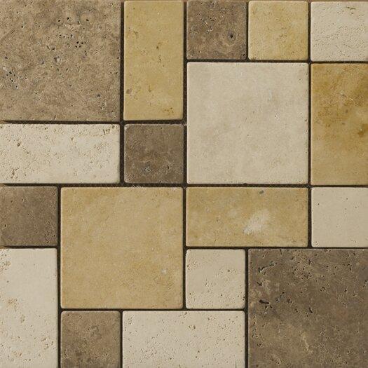 Emser Tile Natural Stone Random Sized Travertine Split Face Versailles Mosaic in Beige / Mocha / Oro