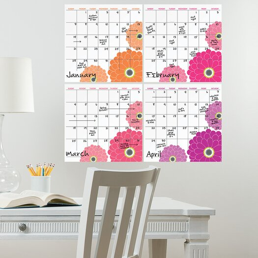 WallPops! Zinnia Dry-Erase 4 Piece Calendar Wall Decal