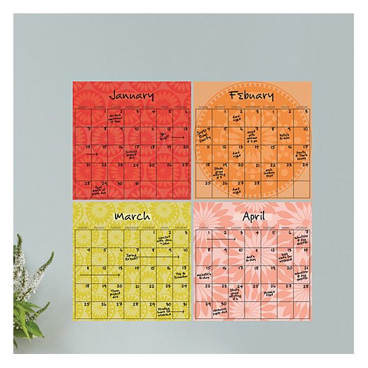 WallPops! Dry-Erase 4 Piece Carnivalé Calendar Wall Decal