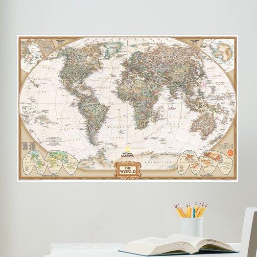 WallPops! Art Kit National Geographic World Map Wall Mural