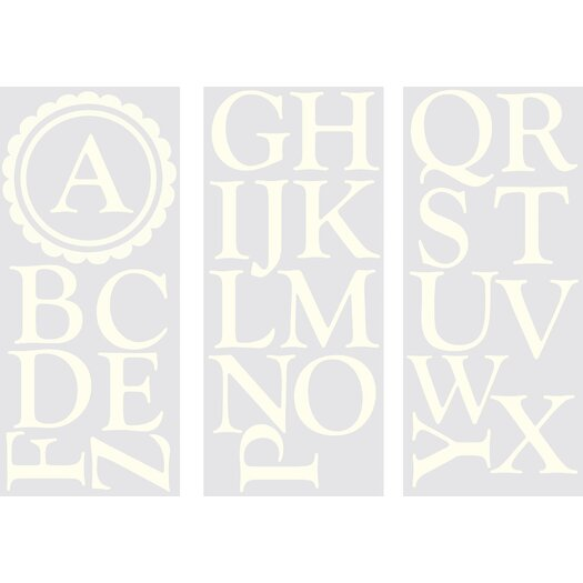 WallPops! Sheets Dorset Ivory Monogram and Alphabet Wall Decal