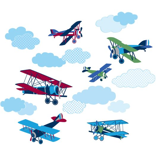 WallPops! Art Kit Mighty Vintage Planes Wall Decal