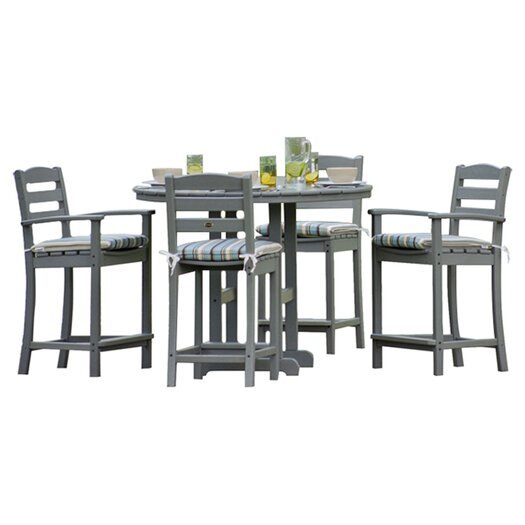 POLYWOOD® La Casa Cafe 5 Piece Counter Set with Cushions