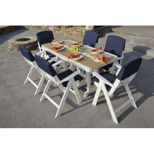 POLYWOOD® Nautical 7 Piece Dining Set with Slip Cushions