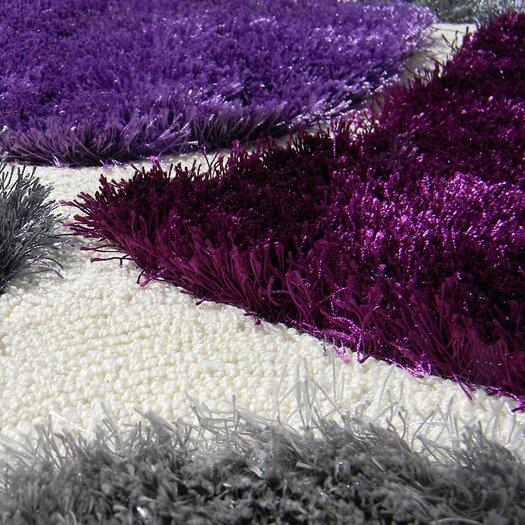 DonnieAnn Company Flash Shaggy Lilac Abstract Block Area Rug