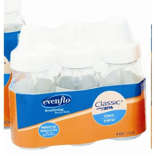 Evenflo 4 oz Clear Glass Nurser (3 Pack)