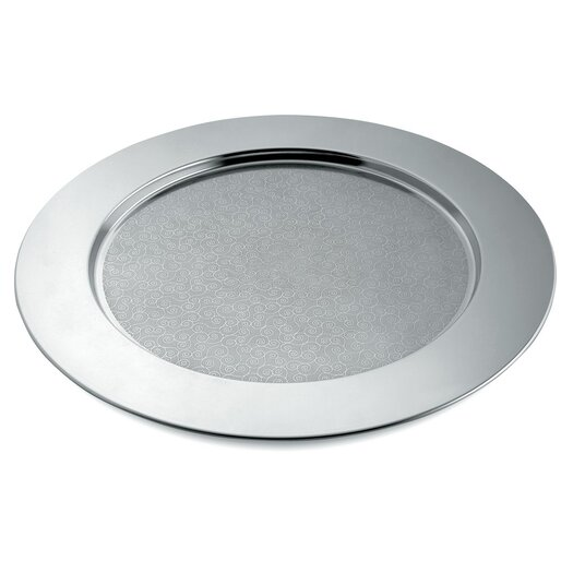 Alessi Cesellato Disco Decorated Round Serving Tray