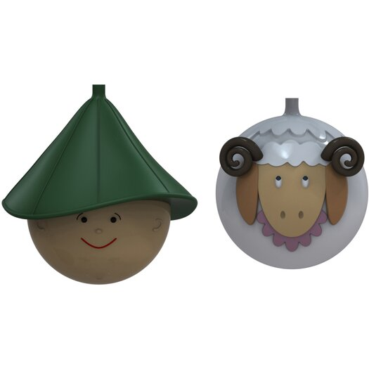 Alessi Le Palle Presepe 2 Piece Sheep and Herder Sculpture