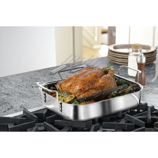 """Calphalon Tri-Ply Stainless Steel 14"""" Roaster with Rack and Lifters"""