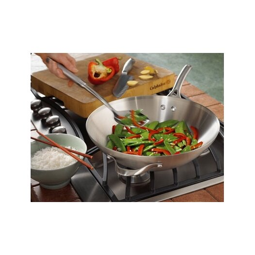 "Calphalon Contemporary Stainless Steel 13"" Flat Bottom Wok"