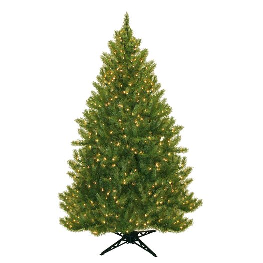 "General Foam Plastics 77"" Evergreen Fir Artificial Christmas Tree with 450 Clear Lights"