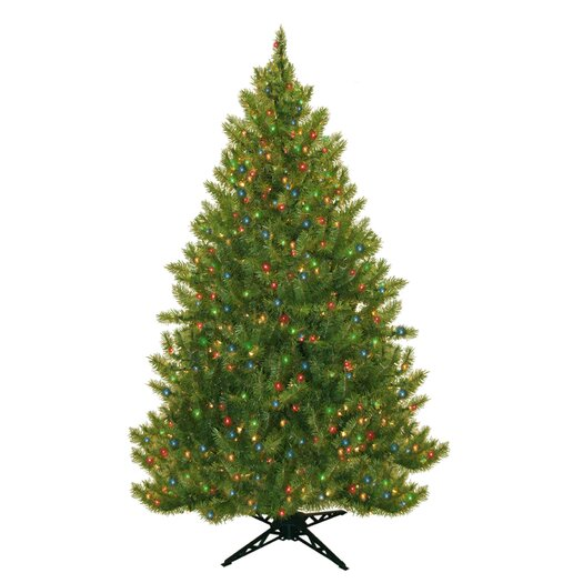 "General Foam Plastics 77"" Evergreen Fir Artificial Christmas Tree with 450 Multicolored Lights"