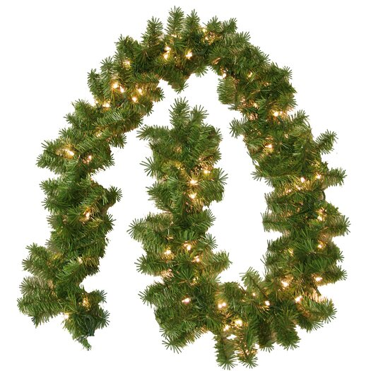 General Foam Plastics Prelit Evergreen Branch Garland with 100 Clear Indoor/Outdoor Lights