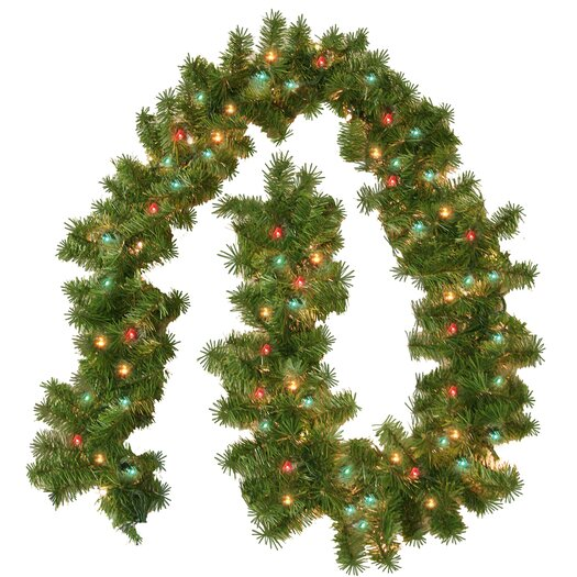 General Foam Plastics Prelit Evergreen Branch Garland with 100 Multi Indoor/Outdoor Lights