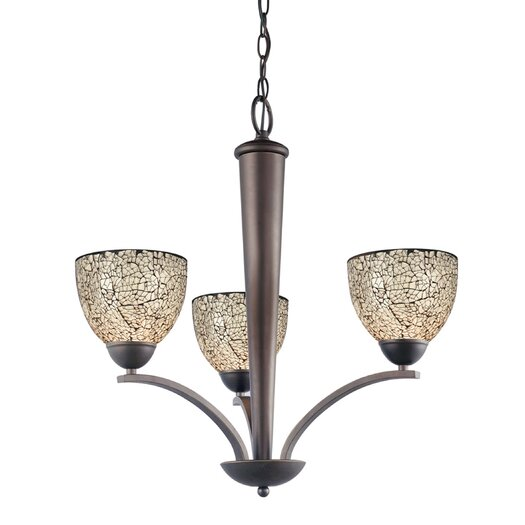 Woodbridge Lighting North Bay 3 Light Chandelier with Mosaic Bell Glass