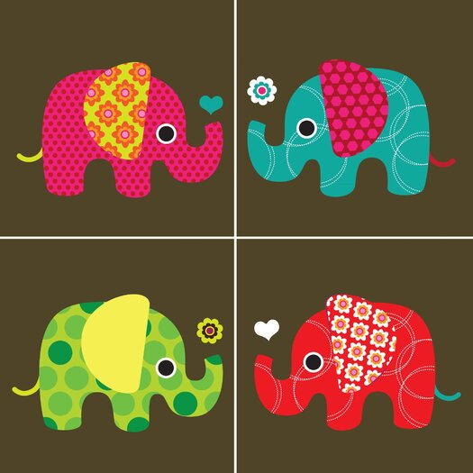 Secretly Designed Four Elephants Paper Print