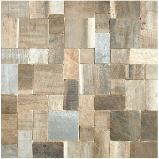 Cocomosaic Random Sized Puzzle Style Envy Wood Unpolished Mosaic in Multi-Color