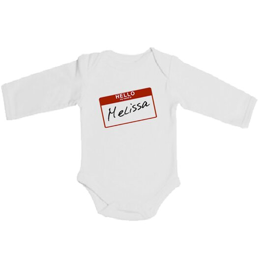 Spunky Stork Hello My Name Is Organic Long Sleeve in White