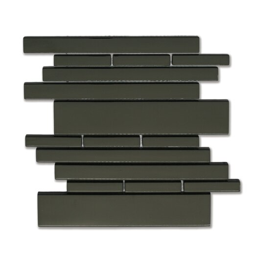 Solistone Piano Random Sized Interlocking Mesh Glass Tile in Melody