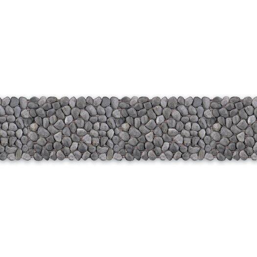 """Solistone Decorative Pebbles 39"""" x 4"""" Interlocking Border Tile in Honed Black Sea"""
