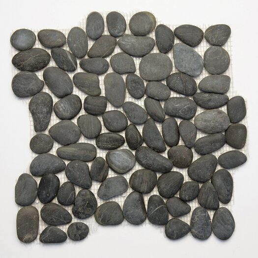 Solistone Decorative Pebbles Random Sized Interlocking Mesh Tile in Honed Black Sea