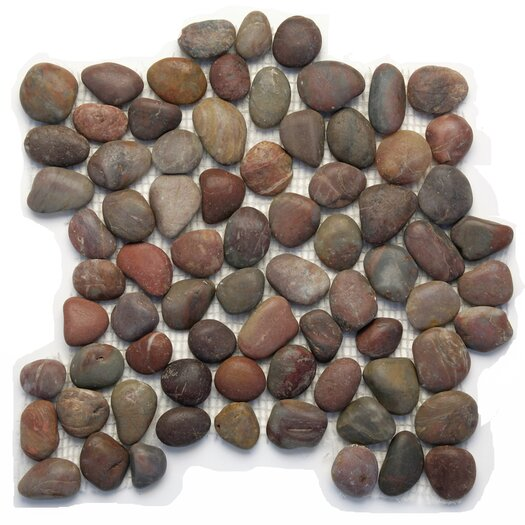 Solistone Decorative Pebbles Random Sized Interlocking Mesh Tile in Honed Agate