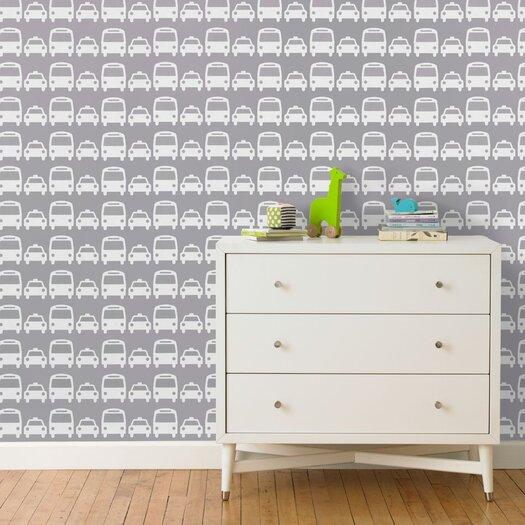 DwellStudio Cars Dove Wallpaper