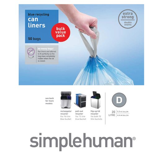 simplehuman 20 L / 5.2 Gal, Custom Fit Trash Can Recycling Liner D, 50-Count Box