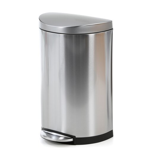 simplehuman 40 L / 10.5 Gal, Semi-Round Step Trash Can, Stainless Steel