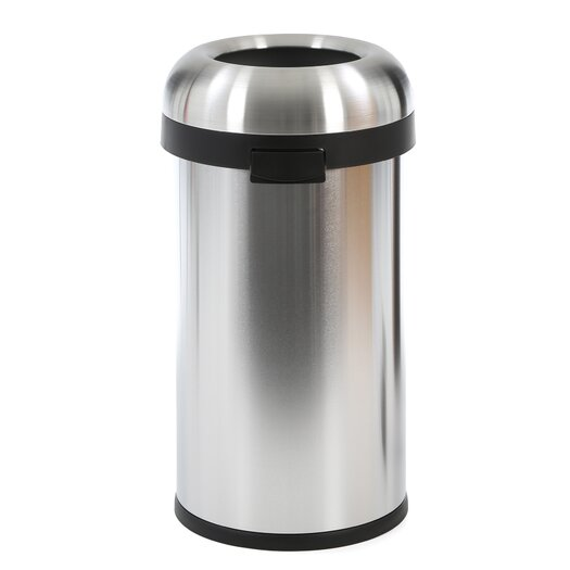 simplehuman 60 L / 15.9 Gal, Bullet Open Trash Can, Commercial Grade, Stainless Steel