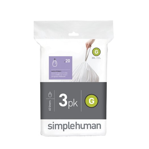 simplehuman Code G Custom Fit Liners (60 Count)