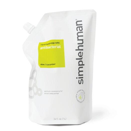 simplehuman 34 fl. oz. Antibacterial Liquid Hand Soap Refill Pouch, Aloe / Cucumber