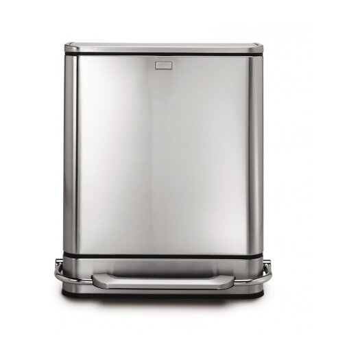 simplehuman 48 L / 12.6 Gal, Steel Bar Step Trash Can Recycler, Stainless Steel