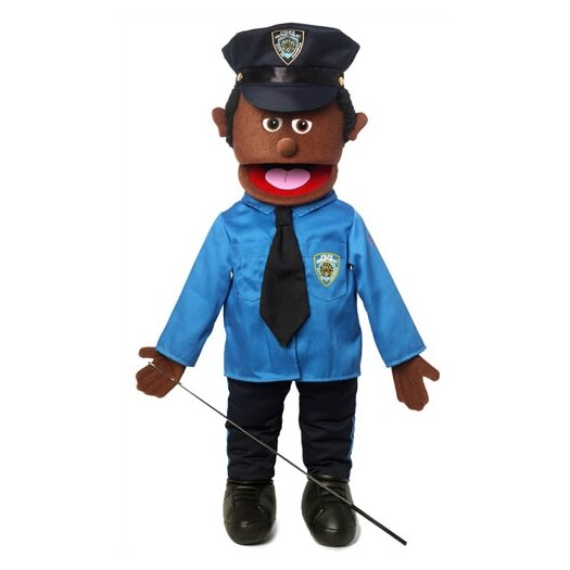 """Silly Puppets 25"""" African American Policeman Full Body Puppet"""